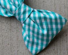 Turquoise Silk Plaid Bow Tie