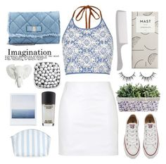 """The White and The Blues"" by karineminzonwilson ❤ liked on Polyvore featuring River Island, Salvatore Ferragamo, Converse, Topshop, MAC Cosmetics, Summer, white and Blue"