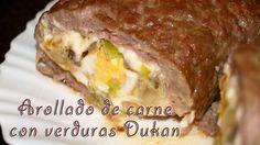 Arrollado de Carne con Verdura - Rolled Meat with Vegetables - Receta Fase Crucero Dieta Dukan Meatloaf, Lasagna, Beef, Vegetables, Ethnic Recipes, Food, Salads, Steak Rubs, Appetizers