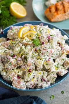 This is the most refreshing potato salad! It's deliciously creamy, it has lot's of fresh herbs, and that bit of lemon gives it the perfect summery touch. Plus this dressing uses mostly Greek yogurt instead of all mayonnaise, so this is a healthier alternative to the classic potato salad.