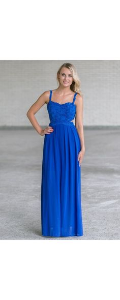 Lily Boutique Esther Side Cut Out Lace and Chiffon Maxi Dress in Blue, $40 Bright Royal Blue Lace Maxi Dress, Cute Juniors Maxi Dress Online, Boho Maxi www.lilyboutique.com