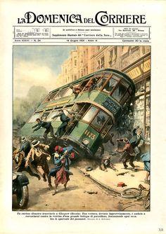 La Domenica del Corriere, Italian weekly newspaper published from 1899 to Retro Art, Vintage Art, Bus Art, E Sport, Drame, Historical Art, Italian Artist, Vintage Magazines, Cool Ideas