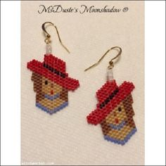 .Red Hat Society Earrings Hand Beaded by MsDuste' Delica Seed Beads Brown Hair  $10.99