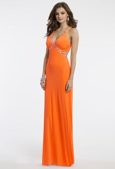 Camille La Vie Jersey Orange Prom Dress with Beading