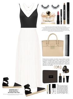 """""""maxi skirt"""" by anabelisstyle ❤ liked on Polyvore featuring Boohoo, Yves Saint Laurent, MANGO, Furla, Estée Lauder, Salvatore Ferragamo, Gucci, Forever 21, Bourjois and GHD"""