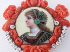 Vintage 18K Gold Carved Coral Diamond Enamel Portrait Miniature Brooch Pendant | eBay