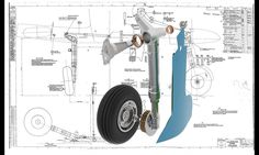 The Oleo undercarriage leg assembly with the Fairing. Interesting to note the brakes are Pneumatic, there is a inflatable bag in the Brake . 3d Cad Models, Scale Models, Spitfire Model, Aircraft Structure, Radio Controlled Aircraft, Airplane Design, Supermarine Spitfire, Landing Gear, Vintage Airplanes