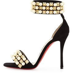 Christian Louboutin Tudor Studded Red Sole d'Orsay Sandal (€1.090) ❤ liked on Polyvore featuring shoes, sandals, heels, red heel shoes, leather sandals, red heeled sandals, metallic sandals and leather heeled sandals