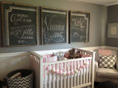 DIY Chalkboards Over Crib in a Pink and Gray Nursery - love the shabby chic look!