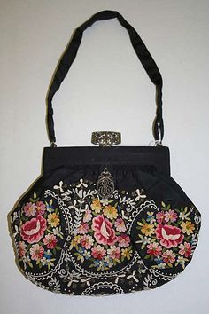 French Bag (Pouch) 1913-1914  silk and linen, embroidered with silk and metallic threads.