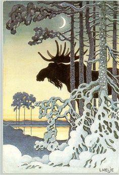 Moose in the Moonlight by lennart Helje Nordic Christmas, Christmas Art, Art And Illustration, Scandinavian Art, Inspiration Art, Pretty Pictures, Printmaking, Illustrators, Art Nouveau