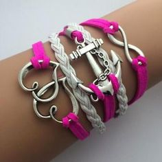 Leather & Zinc Womens Infinity Multilayer Bracelet - Pink/White - Hearts, Anchor
