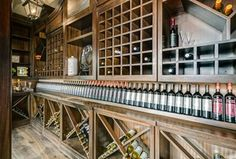Traditional Wine Cellar with Pendant light, Built-in bookshelf, Hardwood floors, High ceiling