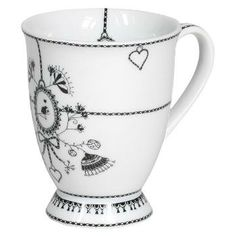 Black and white flower mug. #black #white #mug #missblackbirdy