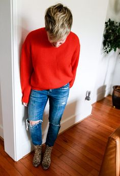 red sweater leopard boots