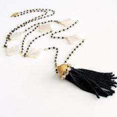 MOP Quatrefoil Black Spinel Beaded Tassel Necklace - Lindy Necklace from karensugarmandesigns on Ruby Lane