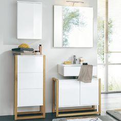 Meuble vasque NewEst en chêne laqué blanc Double Vanity, Bathroom, Zen Bathroom, White Shellac, Hobby Lobby Bedroom, Trends, Washroom, Full Bath, Bath
