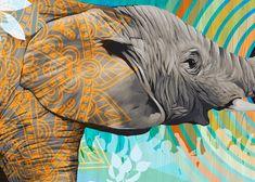 Elephant Painting by Blaine Fontana Bokashi, Elephant Art, Board Ideas, Artist Painting, Moose Art, Lion Sculpture, College, Statue, Models