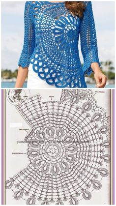 Crochet Bolero Pattern, Crochet Jumper, Crochet Stitches Patterns, Crochet Blouse, Crochet Designs, Diy Blouse, Sewing Patterns, Pull Crochet, Diy Crochet