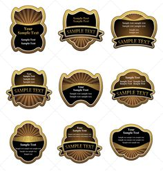 Set of vintage brown labels