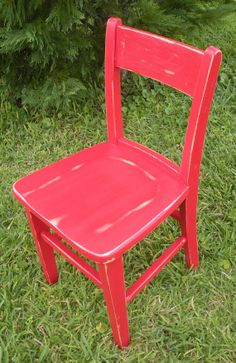 Vintage Chair-Red Wood Chair-Child's Wood Chair-Red Chair-Painted and Distressed Chair-Old Child Chair-Refurbished Child's Chair