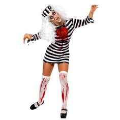 2016 New Arrival Scarey Convict Criminal Zombie Black White Stripe Prisoner Costume Halloween Costume Party Cosplay For Women #Affiliate
