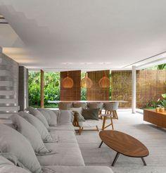 Panneaux Treillis Bois Du0027occultation Et Piscine à Débordement U2013 Une Villa  Moderne Au Brésil