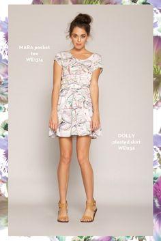 Mara Pocket Tee and Dolly Pleated Skirt. SHOP www.whitneyeve.com