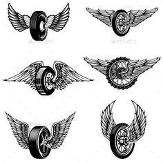 Buy Set of Winged Car Tires on White Background. Set of winged car tires on white background. Design elements for logo, label, emblem, sign. Bike Tattoos, Motorcycle Tattoos, Motorcycle Art, Bike Art, Tatoos, Portrait Tattoo Sleeve, Sleeve Tattoos, Wing Tattoo Men, Wheel Tattoo