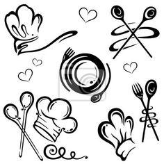 Vinilo sombreros del cocinero, cocinero, cocina conjunto de ...