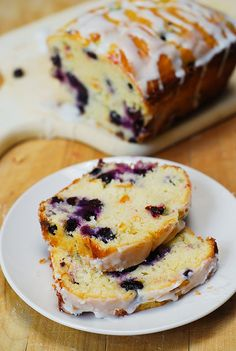 Blueberry vanilla bread with lemon glaze