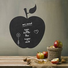 Apple blackboard Wall stickers Removable Blackboard decals Gift for kids Room decor Custom Window Stickers, Removable Vinyl Wall Decals, Bird Wall Decals, Kitchen Wall Decals, Vinyl Wall Stickers, Vinyl Wall Art, Eiffel Tower Wall Decal, Chalkboard Stickers, Chalkboard Art