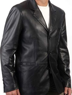 Mens Sicilian 3 Button Black Leather BLazer, made with supple and smooth lambskin, comfortable and great leather coat. Mens Leather Blazer, Leather Trench Coat, Leather Men, Leather Jackets, Mens Office Fashion, Modern Fashion, Mens Fashion, Sharp Dressed Man, Blazers For Men