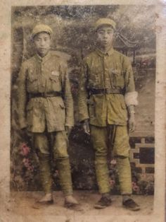 My grandpa(right) at age 17 in the Chinese 2nd Field Army in 1947 before the communists liberated Nanjing with a watch he got from an American P41 fighter pilot he rescued