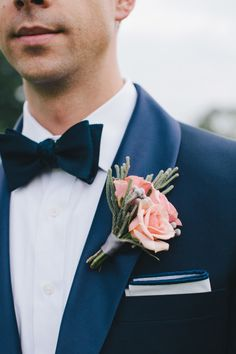 Blush roses with succulents boutonniere: http://www.stylemepretty.com/illinois-weddings/2014/09/29/elegant-country-club-wedding-2/ | Photography: M Lindsay - http://mlindsayphotography.com/