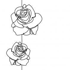 line drawing flower - line drawing ; line drawing tattoo ; line drawing art ; line drawing woman ; line drawing face ; line drawing flower ; line drawing simple ; line drawing couple Rose Line Art, Line Flower, Line Art Flowers, Leaf Flowers, Single Line Drawing, Continuous Line Drawing, Line Drawing Art, Contour Line Drawing, Flower Sketches