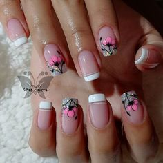 French Acrylic Nails, Best Acrylic Nails, French Nails, Toe Nail Art, Toe Nails, Short Square Nails, Rhinestone Nails, Cute Nail Designs, Flower Nails