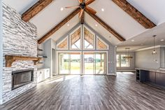 THIS HOUSE IS AMAZING! The layout the vaulted ceilings the stunning kitchen the picture windows; the list of why this home is near THIS HOUSE IS AMAZING! The layout the vaulted ceilings the stunning kitchen the picture windows; Future House, My House, Vaulted Living Rooms, Detail Architecture, Barn House Plans, Shop House Plans, Pole Barn Homes, Metal Homes, House Goals