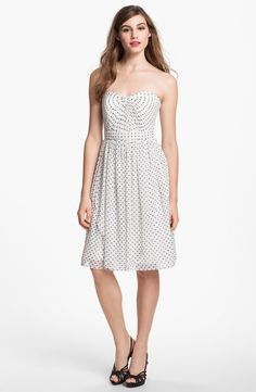 Strapless Polka Dot Retro Feel Ivory Dress