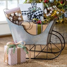 Berries, burlap and buffalo check—these are a few of our favorite things this Christmas! Shop the merry and bright Farmhouse collection in-stores and online! Christmas Sled, Christmas Porch, Farmhouse Christmas Decor, Outdoor Christmas, Rustic Christmas, Christmas Projects, Winter Christmas, Christmas Holidays, Christmas Decorations