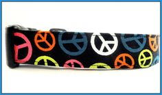 GROOOOOVY! Check out this Multi Colored Peace Signs Dog Collar! SO CUTE! SO GROOVY!