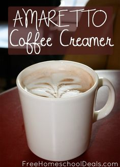 25 Yummy Homemade Coffee Creamer Recipes - Coffee Creamer - Ideas of Coffee Creamer - Homemade Amaretto Coffee Creamer Vanilla Coffee Creamer, French Vanilla Creamer, Homemade Coffee Creamer, Marshmallow Creme, Pina Colada, Nutella, Coffee Recipes, Drink Recipes, Smoothie Recipes