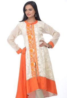 #White #Churidar Kameez