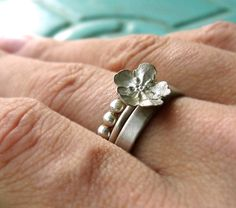 Ethical Sterling Forget Me Not Flower Stacking Ring Set by Bijoutiful