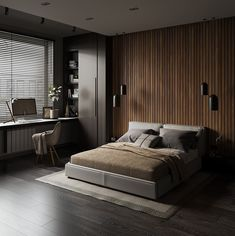 interior design for a young man Modern Luxury Bedroom, Minimal Bedroom, Master Bedroom Interior, Bedroom Bed Design, Modern Master Bedroom, Modern Bedroom Design, Luxurious Bedrooms, Modern Ceiling Design, Moderne Lofts