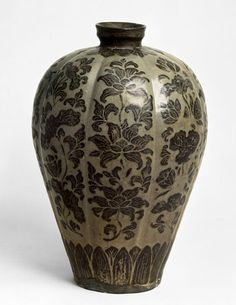 Melon-shaped Celadon Prunus Vase (Maebyeong) with Peony and Lotus Design Painted in Underglaze Iron Brown (Lobed vase) | V&A Search the Collections