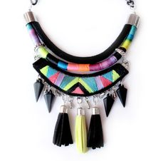 Tribal necklace geometric embroidered handmade by tashtashop