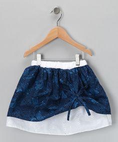 Deep Blue & White Eyelet Skirt - Toddler & Girls