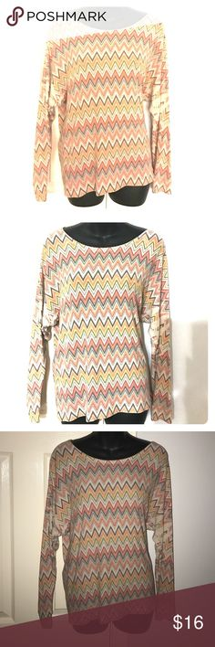 FLASH SALE Forever 21 soft chevron ladies top sz M Forever 21 long sleeves t-shirt top 8' a chevron print with neutral colors. Size Medium. Material is soft, comfortable and lightweight. Top measures approximately 18.5 across the front without stretching the material and it measures approximately 24.5 in length. Well loved so it does have pilling on it. Super comfy. Bundle with other items in my closet to save even more. Forever 21 Tops Tees - Long Sleeve