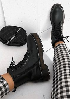 Platform Faux Leather Combat Ankle Boots Black - Best Long boots outfit - Ways to Wear Boots The Definitive Guide Thigh High Boots Outfit, Black Boots Outfit, Black Combat Boots, Dress With Boots, Boots With Heels, Shoes Boots Combat, Laced Boots, Black Leather Boots, Girls Shoes